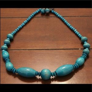 Turquoise Blue Wood Bead Necklace & Earring Set